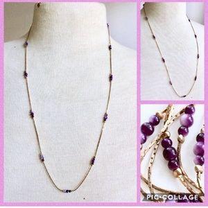 AMETHYST Stone Necklace Gold Vintage